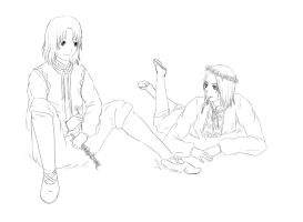 APH: Liet and Poland - lineart by LadySwallow