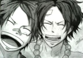 The 2 Brothers: Luffy and Ace by Kouji134