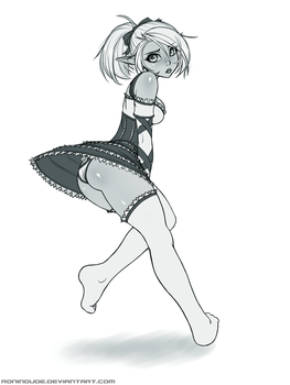 Lin in Barmaid Outfit Sketch June 2014 by RoninDude