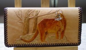 Cat Billfold Checkbook by larrysleather