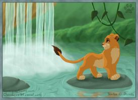 Simba in waterfalls by ClaireLyxa