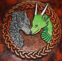 CelticKnot with Dragon and Wolf by TheCelticDragoness