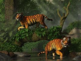 Fishing Tigers by deskridge