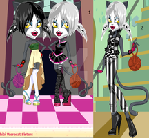 monster high black and white WERECAT SISTERS by sailorcosmos0