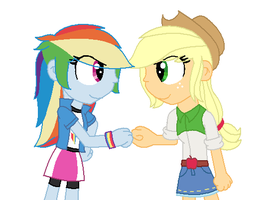 Rainbow Dash and Applejack brofist by Imtailsthefoxfan