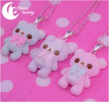 Pastel ice-cream bears necklace by CuteMoonbunny