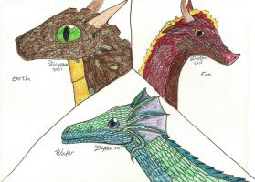 3 Types of Dragons by Aryncoryn