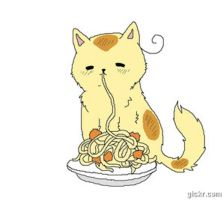 Italy Cat nomming Pasta GIF by HannahMeyers