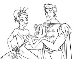 Tiana and Naveen Sketch by Ede1986