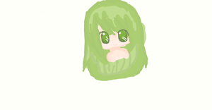 green hair headshot chibi by kittiehcakes