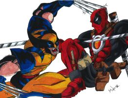 Deadpool Vs Wolverine by MikeES