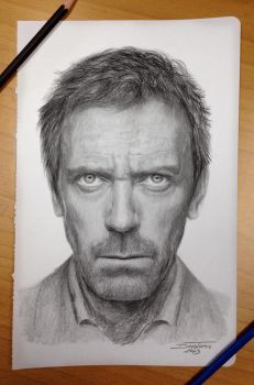 Hugh Laurie Pencil Drawing aka Dr.House by AtomiccircuS
