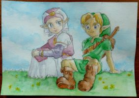 Young Zelda and Link - Colored by tite-pao