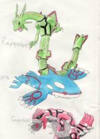 Rayquaza, Kyogre, and Groudon by LilTJ96015