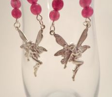 Dark Pink Fairy Earrings by TheSortedBead