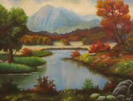 Landscape 1: mountain and lake by Kaitana