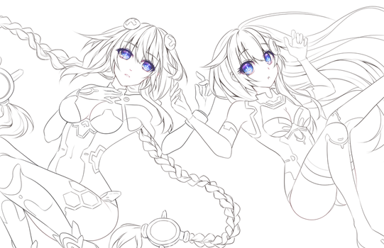 Hyperdimension Neptunia Lineart FREE to COLOR by KarameruYukika