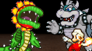 Onaga and Fire Mario vs. Adult Dino Piranha by KingAsylus91