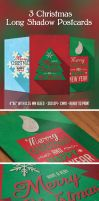 3 Christmas Long Shadow Postcards by PixelladyArt