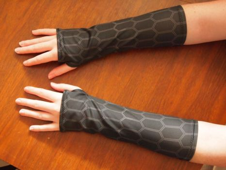 Hexagon-print spandex armwarmers by WhimsicalSquidCo