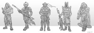 Sci fI Assult soldiers sketches by RavenseyeTravisLacey
