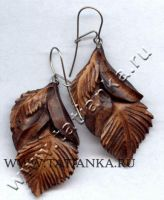 Earrings, wood by tatianka-ru