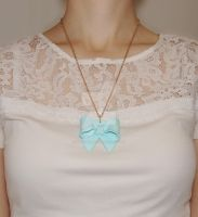 Mint Bow Necklace by MartineLand