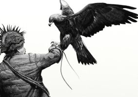 A man and his golden eagle by Renum63