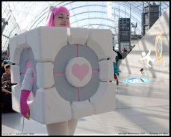 companion cube cosplay by Layen