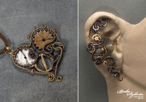Steampunk heart and ear cuff by bodaszilvia