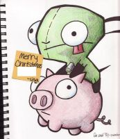 gir and pig. by teddyandturtle