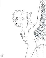 Winged Wolf by DrakynWyrm