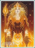 Tarot - Queen of Fire by ravynnephelan