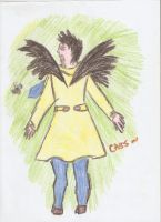 Angel in trenchcoat and his honey bee by BlackLuna2505