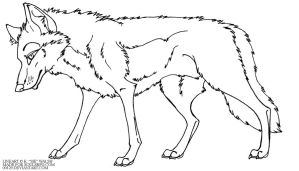 free wolf standing lineart by 00129