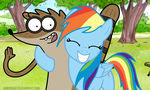 Rigby and Rainbow Dash :3 by ShinodaGE