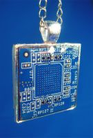 Blue and Silver Circuit Board Pendant by Llyzabeth