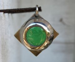Sea Green Square Pendant by ou8nrtist2