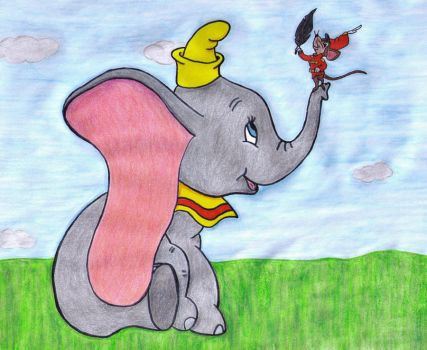Dumbo, Timothy and the Feather by MoonyMina