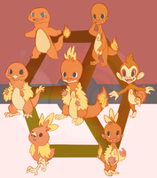 Hexafusion with Charmander Torchic and Chimchar by Draco-Digi