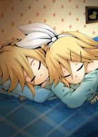 Rin and Len kagamine - Sleeping by LadyGalatee