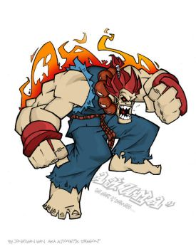 akuma colored by jon by firefromheaven