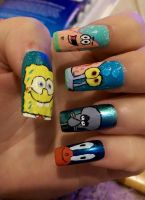 Spongebob Squarepants Nail Art by amybartram94