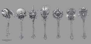 Darksiders II weapon concepts Maces 1 by DawidFrederik