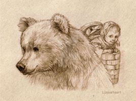 Masha and the bear by Lizavetaart