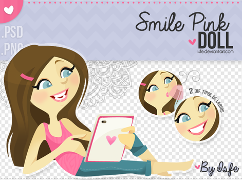 Smile Pink Doll (PSD/PNG) by Isfe