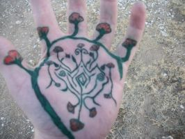 colored flowers on my hand by sethsethrevolution23