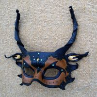 Brown and Green Dragon Mask by merimask