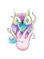 old school tattoo owl squid by MoldySweet