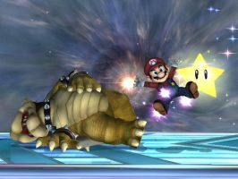 Bowser defeated by raccoon-ninja